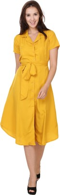 Crease & Clips Women's Shirt Yellow Dress