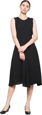 Van Heusen Women Fit and Flare Black Dress