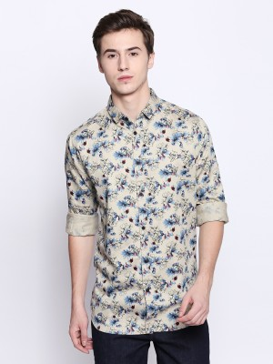 Dennis Lingo Men Floral Print Casual Brown Shirt