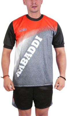 Excido Men Round Neck Half Sleeve Sport Jersey, Kabaddi Jersey - Grey, Size38 Printed Men's Track Suit