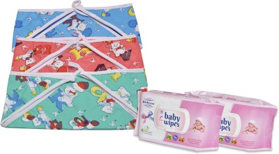 Kidoyzz New Born Washable & Reusable Diaper/Langot/ 3 Nappy Set With 2 Pack of Wipes NCMB106