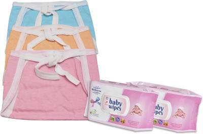 Kidoyzz New Born Washable & Reusable Diaper/Langot/ 3 Nappy Set With 2 Pack of Wipes NCMB127