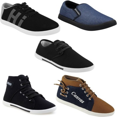Chevit Combo Pack of 5 Casual Shoes (Loafers & Sneakers Shoes) Sneakers For Men