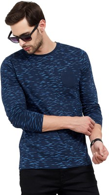 Maniac Printed Men Round Neck Dark Blue T-Shirt