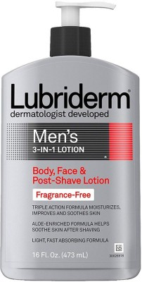 Lubriderm Men's 3-In-1 Lotion, Body, Face And Post-Shave Lotion, Fragrance Free, 16 Ounce