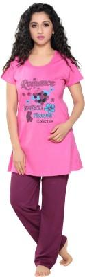 Boring Dress Women Floral Print Pink Top & Pyjama Set