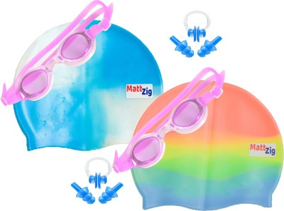 MattZig Zigsy (Two Swimming Caps + Two Swimming Goggles + Two Nose Clips + Two Pairs of Ear Plugs) Swimming Kit