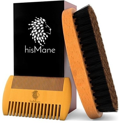 hisMane eard & Mustache Brush and Comb Kit - 100% Boar Bristle Beard Brush & Wooden Grooming Comb - Facial Hair Care Gift Set for Men - For Applying Beard Oil & Wax for Styling, Growth & Maintenance