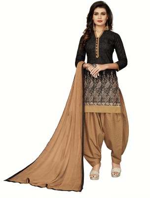 FabTag - Fashion Ritmo Cotton Printed, Embroidered Semi-stitched Salwar Suit Dupatta Material