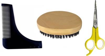 Fully Beard Brush, Safety Scissor Personal Care Hair Removal Scissors & Beard Comb For Men, Set Of 3