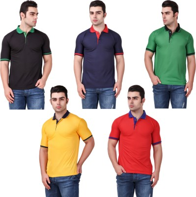 KETEX Solid Men Polo Neck Multicolor T-Shirt