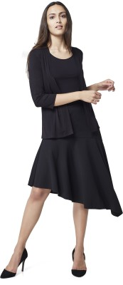 AND Solid Women Flared Black Skirt