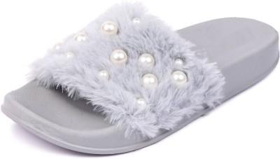 Brauch Grey Fur Pearl Sliders Slides
