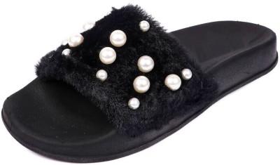 Brauch Black Fur Pearl Sliders Slides