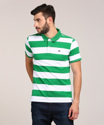 Arrow Sport Striped Men's Polo Neck Green T-Shirt