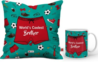 Indigifts Rakhi gift, Best Brother Gift, Cushion Pillow for Brother, Raksha Bandhan Gift, Gifts for Brother_IDSCOMAF370 Cushion, Mug Gift Set