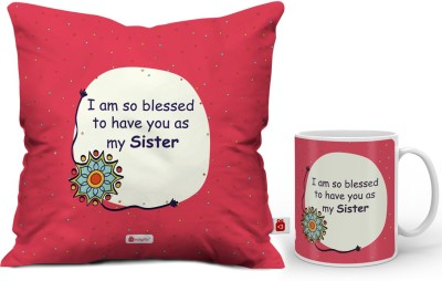 Indigifts Rakhi Gift, Gifts for Sister, Birthday Gifts for Sister, Raksha Bandhan Gift, Marriage Gift for Sister_IDSCOMAF341 Cushion, Mug Gift Set