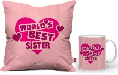 Indigifts Rakhi Gift, Gifts for Sister, Birthday Gifts for Sister, Raksha Bandhan Gift, Marriage Gift for Sister_IDSCOMAF329 Cushion, Mug Gift Set