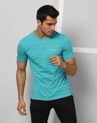 Metronaut Athleisure Striped Men's Round Neck Green T-Shirt