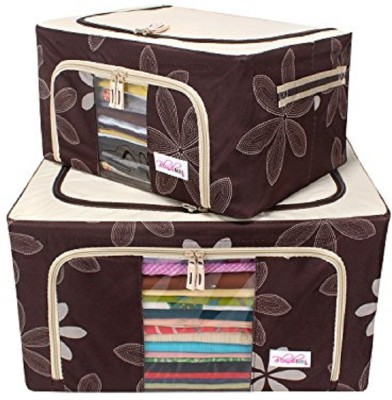 BlushBees Utility Combo!! Living Box - Set of 2 Clothes Storage Wardrobe Organizer Bags for Woolens, Sarees, Bed Sheets, Blankets (24 L& 55 L) - Brown