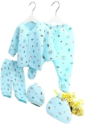 TINY LOOKS ??? Presents New Born Baby Winter Wear Keep warm Cartoon Printing Baby Clothes 5Pcs Sets Cotton Baby Boys Girls Unisex Baby Fleece / Falalen Suit Infant Clothes First Gift For New Baby (Blue, 0-6 Months)