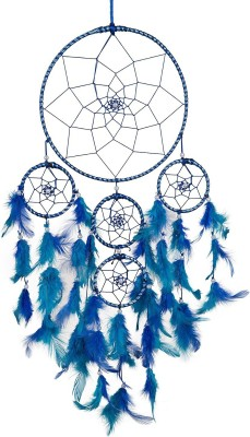 ILU Dream Catcher Wall Hanging Handmade Beaded~ 1 Big and 4 Small Circular Net with Feather Decoration Ornaments Size 21cm Diameter Nylon Windchime