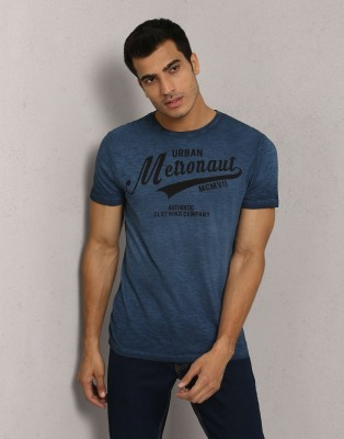 Metronaut Printed Men's Round Neck Dark Blue T-Shirt
