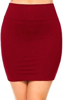 Magnus Solid Women Pencil Maroon Skirt