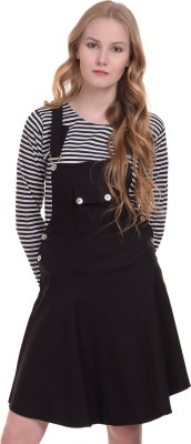 BuyNewTrend Women's Black Dungaree