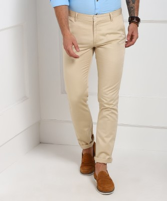 John Players Slim Fit Men's Beige Trousers