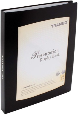 TRANBO Plastic Clear Book File Folder Display Presentation Book, 60 Pocket, A4 Size, Black