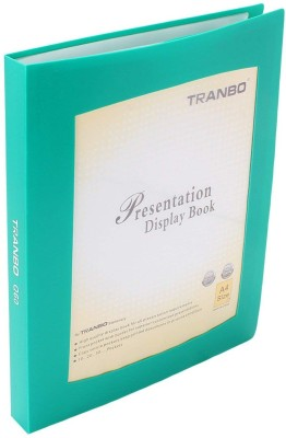 TRANBO Plastic Clear Book File Folder Display Presentation Book, 60 Pocket, A4 Size, Green