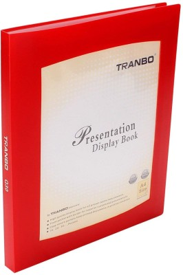 TRANBO Plastic Clear Cover Presentation Display File Folder, 30 Pockets, A4 Size, Red
