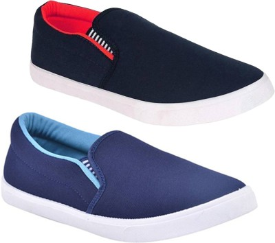 BRUTON Combo Fit-Man Red & Blue Loafers For Men