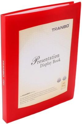 TRANBO Plastic Clear Book File Folder Display Presentation Book, 60 Pocket, A4 Size, Red