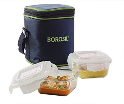 Borosil Glass Tiffin Set 2 Containers Lunch Box