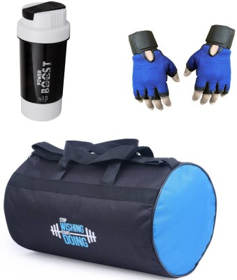 Vellora Classic combo Gym Bag And Gym Glove With Power Boost Shaker Wrist Support Combo Gym & Fitness Kit