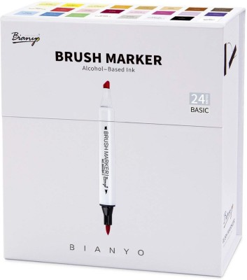 Bianyo Dual Tip Art Markers Set- Sketch Drawing Pens, 24 Colors