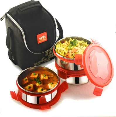 Cello Steel Click-3-Plus 3 Containers Lunch Box