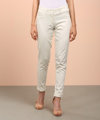 AND Regular Fit Women's Cream Trousers