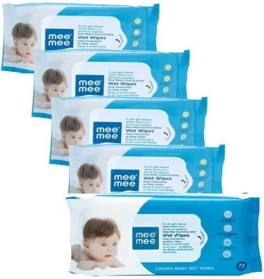 MeeMee Anti Bacterial Caring Baby Wet Wipes with Aloe Vera (72 pcs x 5 pack)