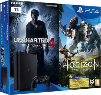 Sony Ps4 Slim Console 1TB with Uncharted 4, Horizon Zero Dawn