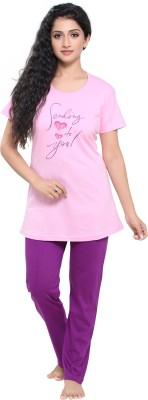 Boring Dress Women Printed Pink Top & Pyjama Set