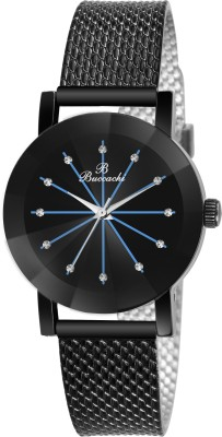 Buccachi B-L1055-BK-BK Black Dial Special Diamond Cute Glass Wrist Watch Water Resistant Black Color Strap Watch for Women/Ladies/Girls Analog Watch  - For Women