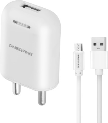Ambrane AWC-38 2.1A Fast Charger with Charge & Sync USB Cable Mobile Charger