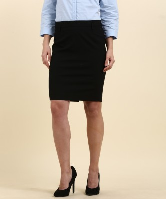 Arrow Solid Women Straight Black Skirt