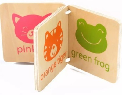 baby shelf Wooden Book Flash Card for Color & Image Learning for Kids 6 Months and Above