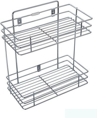 Bluwings Double Layer Wall Mounted Kitchen Rack Kitchen Accessories Organizer Stainless Steel Wall Shelf