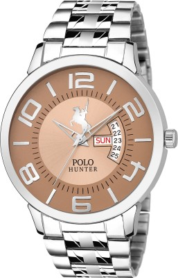 POLO HUNTER 1223-Brown Day and Date Chain Watch  - For Men