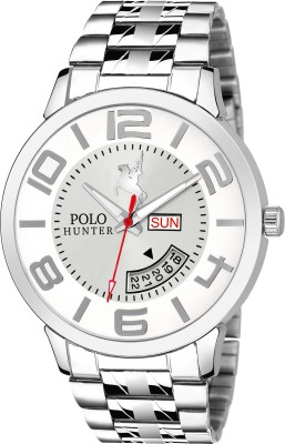 POLO HUNTER 1224-White Day and Date Chain Watch  - For Men